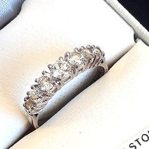 Vintage Crystal & Sterling Silver Ring, Size 9